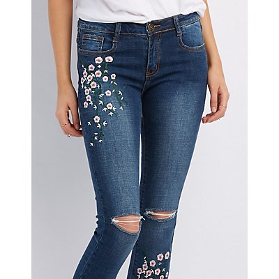 Machine Jeans Embroidered Distressed Skinny Jeans