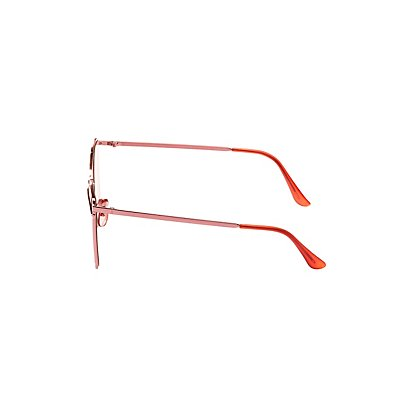 Red Reflective Metal Sunglasses