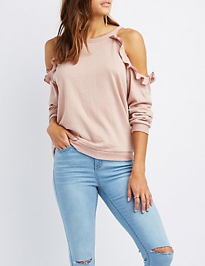 Ruffle-Tim Cold Shoulder Sweater