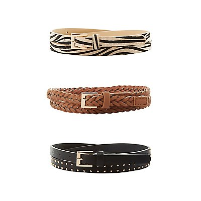 Plus Size Braided, Studded & Faux Ponyhair Belts - 3 Pack