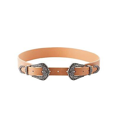 Plus Size Faux Leather Double Buckle Belt