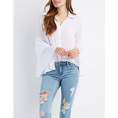 Bell Sleeve Button-Up Shirt