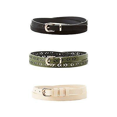 Plus Size Faux Suede, Stamped & Laser Cut Belts - 3 Pack