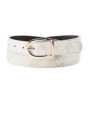 Plus Size Reversible Velvet & Faux Leather Belt