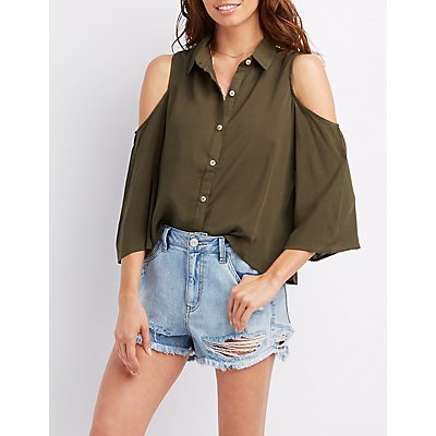 Cold Shoulder Button-Up Top
