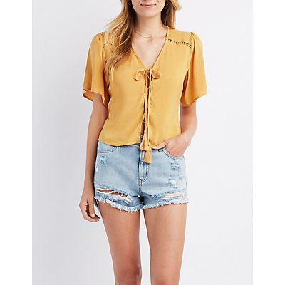 Crochet-Inset Lace-Up  Top
