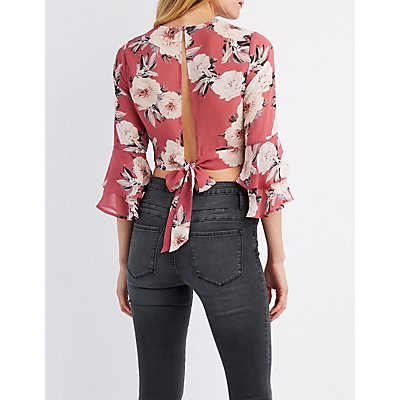 Floral Ruffle Sleeve Tie-Back Crop Top