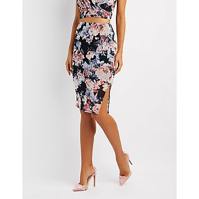 Floral Mesh Bodycon Skirt