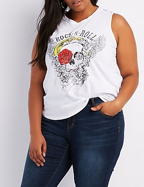 Plus Size Skull Graphic Tank Top