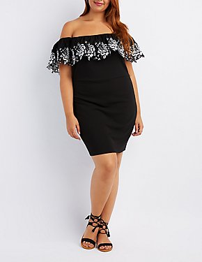 Plus Size Embroidered Off-The-Shoulder Bodycon Dress