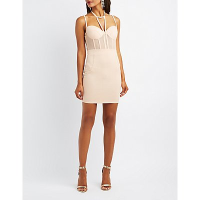 Caged Mesh-Inset Bustier Dress