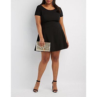 Plus Size Scoop Neck Skater Dress