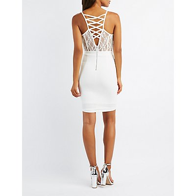 Lace Bodice Bustier Bodycon Dress