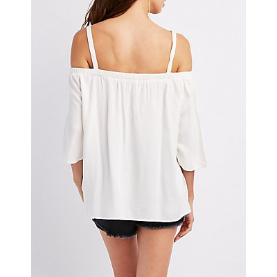 Woven Cold Shoulder Top