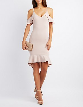 Ruffle-Trim Cold Shoulder Bodycon Dress