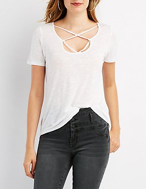 Strappy-Neck Boyfriend Tee