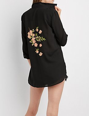 Floral Embroidered Button-Up Top