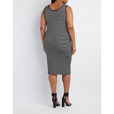 Plus Size Ribbed Striped Bodycon Dress