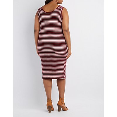 Plus Size Ribbed Striped Bodycon Dress