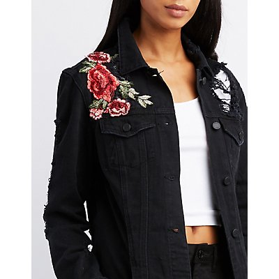 Embroidered Destroyed Oversized Denim Jacket