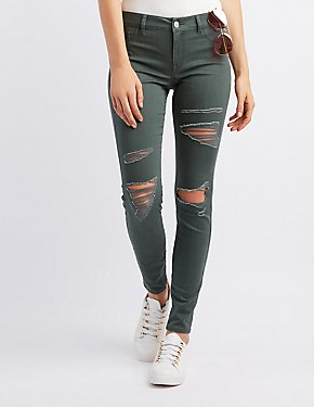 Refuge Distressed Low-Rise Skinny Jeans