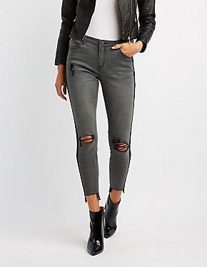Refuge Velvet-Trim Destroyed Skinny Jeans