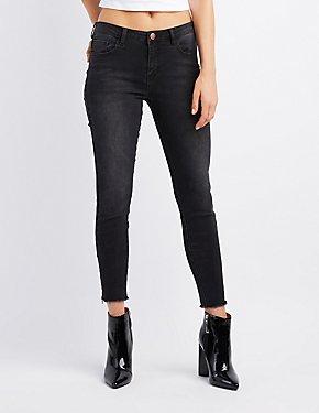 Refuge Frayed Hem Skinny Jeans