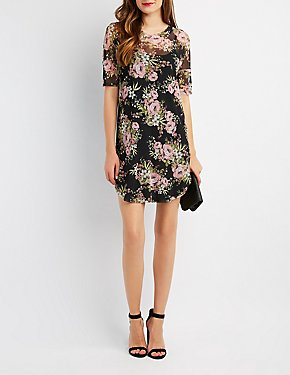 Floral Mesh Shift Dress