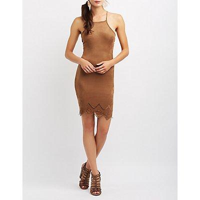 Faux Suede Bib Neck Bodycon Dress