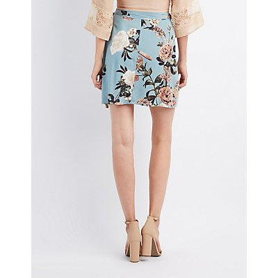Floral Wrap Tie Skirt