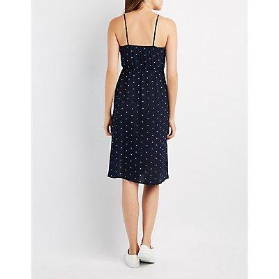 Polka Dot Tie-Front Midi Dress