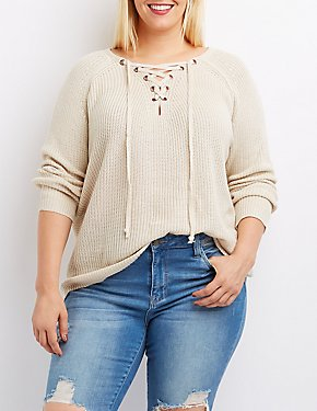 Plus Size Lace-Up Shaker Stitch Sweater