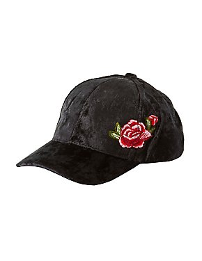 Embroidered Crushed Velvet Baseball Hat