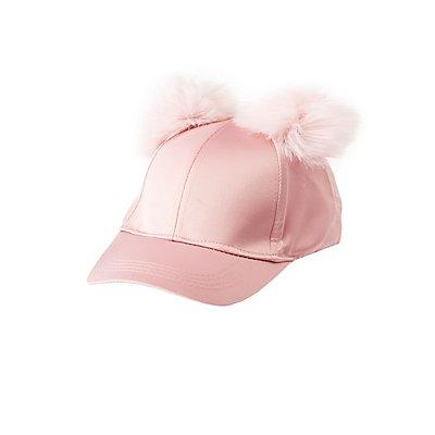 Satin Pom Pom Baseball Hat