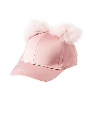 Satin Pom Pom Baseball Hat