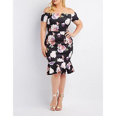 Plus Size Floral Off-The-Shoulder Flounced Dress