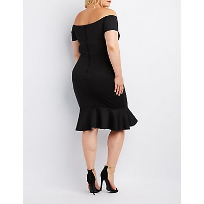 Plus Size Off-The-Shoulder Flounced Dress