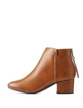 Faux Leather Block Heel Ankle Booties