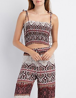 Smocked Border Print Crop Top
