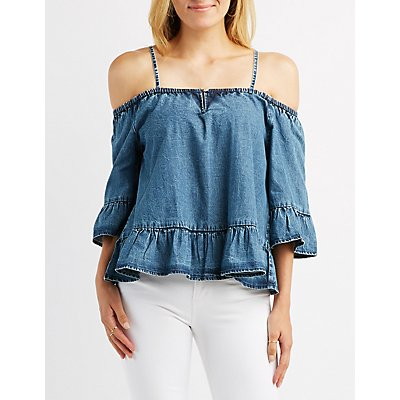 Chambray Cold Shoulder Ruffle Top