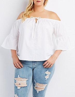 Plus Size Off-The-Shoulder Bell Sleeve Top