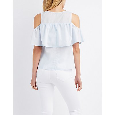 Cold Shoulder Lace-Up Ruffle Top