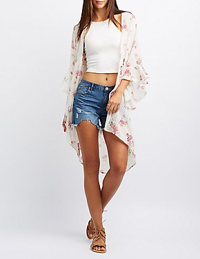 Floral Bell Sleeve Duster