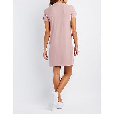 Ribbed Lace-Up T-Shirt Dress