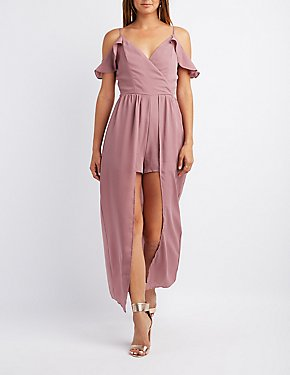 Ruffle Cold Shoulder Maxi Romper