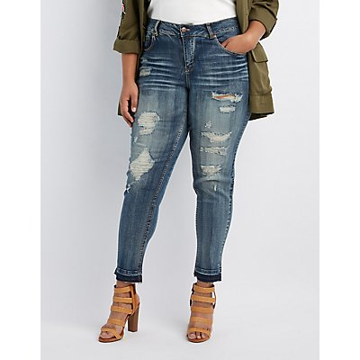 Plus Size Distressed Released Hem Skinny Jeans