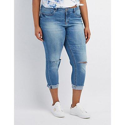 Plus Size Dollhouse Crop Boyfriend Destroyed Jeans