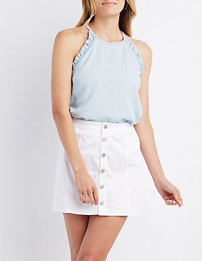 Chambray Ruffle-Trim Bib Neck Top