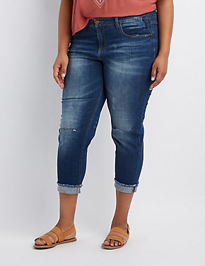 Plus Size Dollhouse Crop Boyfriend Destroyed Jeans