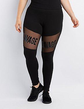 Plus Size Savage Mesh-Inset Leggings